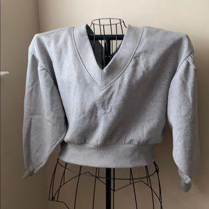 Gray cropped v neck sweatshirt size small
